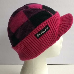 Columbia magenta/black quilt lined fleece knit cap